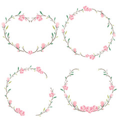 Heart and round pink magnolia wreath collection vector
