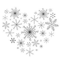 heart made of black snowflakes on white vector image