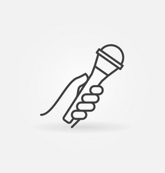 interview mic in hand outline icon or vector image
