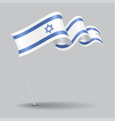 Israeli pin wavy flag vector