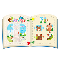 jigsaw pieces of fox on the log vector image