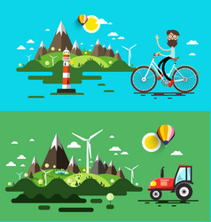 Landscapes flat design set vector