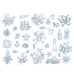 marine octopus nautical set wild vector image