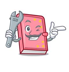 Mechanic diary mascot cartoon style vector