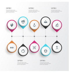 Meditation icons line style set with oil bottle vector
