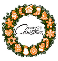merry christmas lettering in center wreath vector image