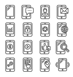 mobile phone icons set on white background line vector image