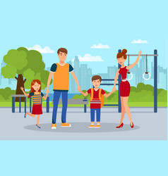 modern family kids with parents flat vector image