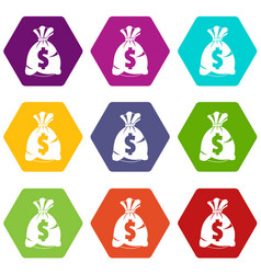 money bag with us dollar sign icon set color vector image