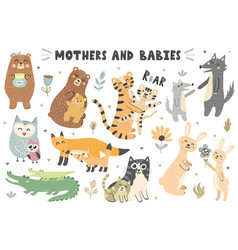 Mothers and babies animals collection vector