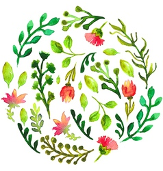 Natural floral circle background with green leaves vector image