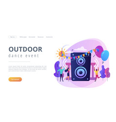 Open air party concept landing page vector