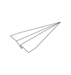 Origami paper plane linear icon isolated on white vector