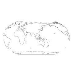 outline map of world asia and australia centered vector image