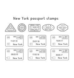 Passport stamps new york usa arrival vector