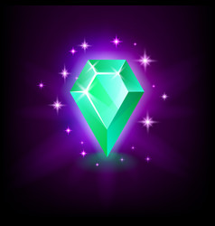 pear green emerald shining gemstone with magical vector image
