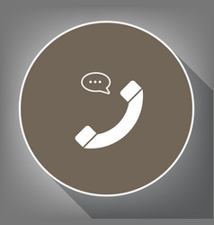 phone with speech bubble sign white icon vector image vector image