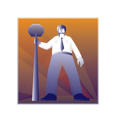 Policeman standing with stop sign retro vector
