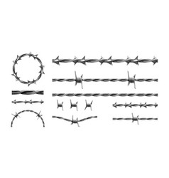 realistic barbed wire prison metal fence elements vector image