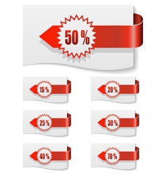 red discount labels vector image