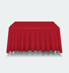 red empty rectangular table with tablecloth vector image