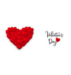 red valentines day greeting card 3d heart balloon vector image