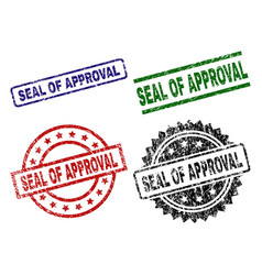 Scratched textured seal of approval seal stamps vector