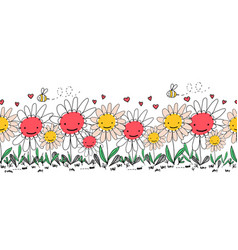 seamless border doodle flowers bees and ants vector image