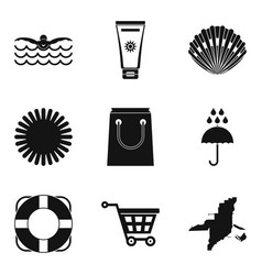 Seaside resort icons set simple style vector