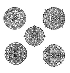 set black and white mandalas for coloring book vector image