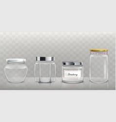 Set empty glass jars with lids in vector