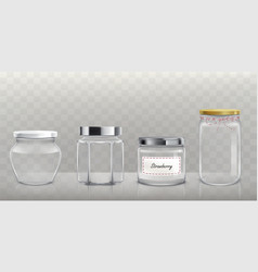 set of empty glass jars with lids in vector image
