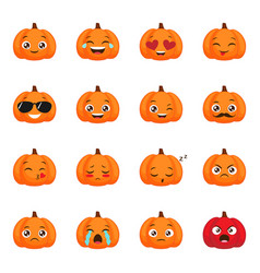 set of funny pumpkin emoticons for autumn design vector image
