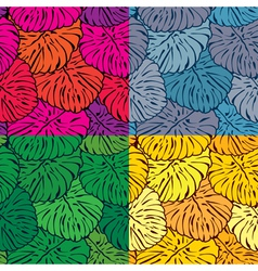 Set of seamless patterns with palm trees leaves in vector image