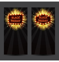 set vertical banners with glowing lamps vector image
