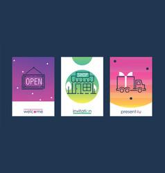 shopping set invitation cards vector image