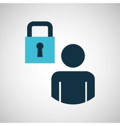 Silhouette blue man padlock protection design icon vector