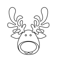 Silhouette cartoon funny face reindeer animal vector