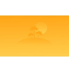 Silhouette of beach and palm on orange backgrounds vector