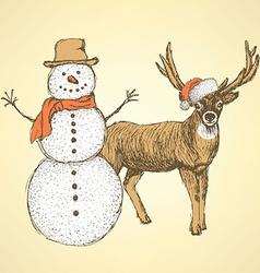 Sketch snowman and raindeer in vintage style vector