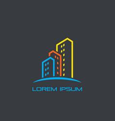 skyscraper colored business logo vector image