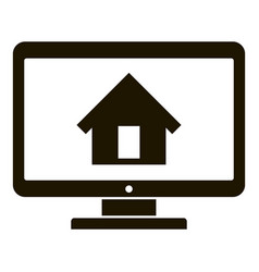 Smart home on monitor icon simple style vector