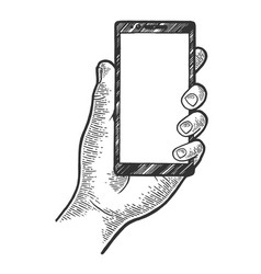 Smart phone in hand sketch engraving vector
