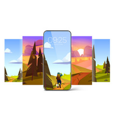 Smartphone screensaver wallpapers with fields vector