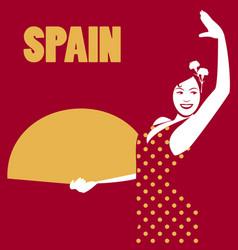 Spanish flamenco dancer spanish woman holding a vector