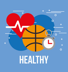 Sport basketball ball stopwatch and heartbeat vector