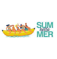 summer water fun man and women ride on a banana vector image