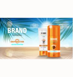 Sun protection sunscreen and sunblock ads vector