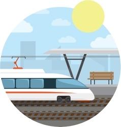 Train station high-speed train at railway vector