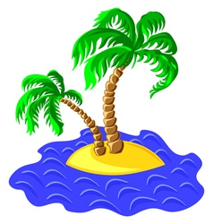 two palm trees on an island in the ocean vector image